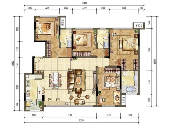 北碚鲁能北渝星城装修方案,洋房a5户型144㎡设计效果图