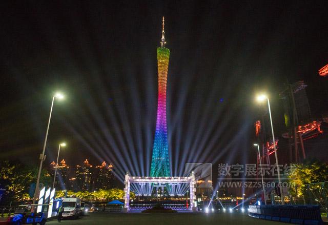 光语花城时代之镜 Vivitek(丽讯)广州灯光节打造恢弘水幕投影