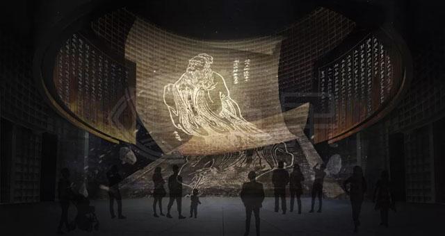 序廳采用特種亞克力 走進這座由兩院院士吳良鏞擔綱設計的博物館,肅穆、莊重之感撲面而來。序廳是孔子博物館最重要的視覺中心,孔子和山的形象,通過照明變化在乳白色書墻上慢慢呈現。頂棚設計了可發光和多媒體星空兩種視覺效果,通過多種藝術方式和高科技把序廳塑造成一個莊重、肅穆、純凈的空間。