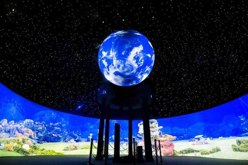 """新媒体艺术案例:明基激光工程投影机打造陆地海洋景观""""深蓝之境"""""""