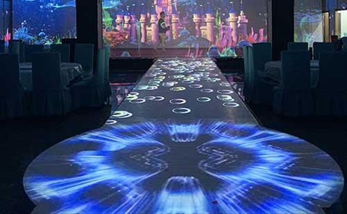 互动T台,婚宴厅互动T台投影,地面互动投影