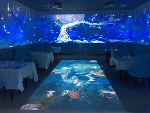 餐厅互动走廊,地面互动投影,沉浸式餐厅互动长廊